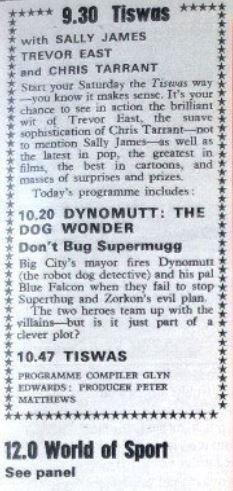 TISWAS TV Times Listing